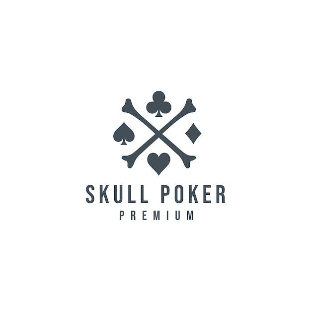 Pôquer crânio logo_03 Vetor Premium