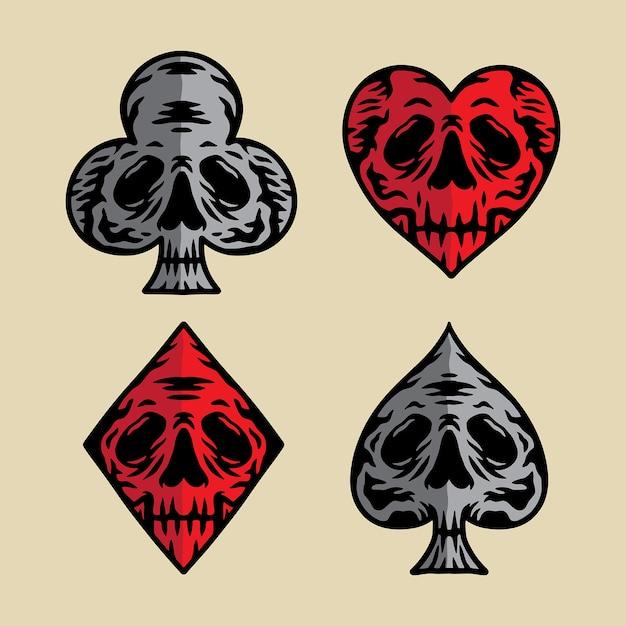 Pôquer ícone crânio ilustração vetorial Vetor Premium