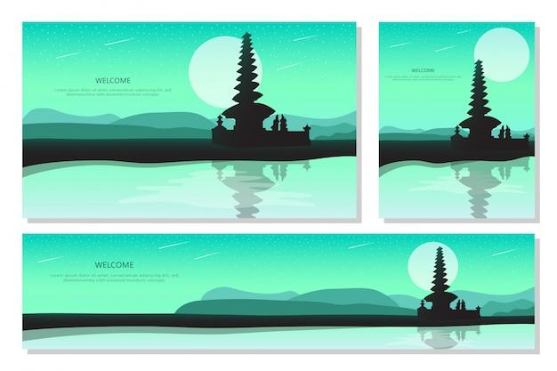 Por do sol bela paisagem em bali. fundo gradiente abstrato verde, design plano Vetor Premium