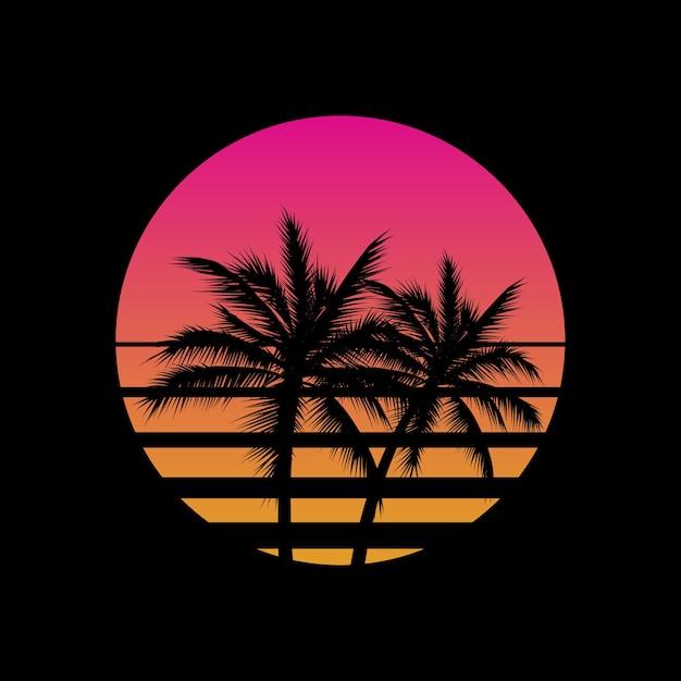 Pôr do sol com estilo vintage com logotipo de silhuetas de palmeiras ou modelo de gesign de ícone em fundo preto. sol vaporwave. Vetor Premium