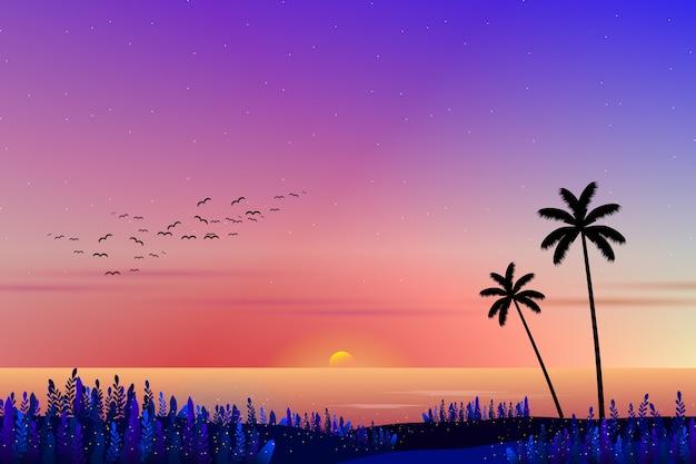 Pôr do sol com paisagem do mar Vetor Premium