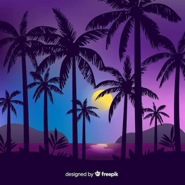 Por do sol da praia com fundo das silhuetas da palma Vetor grátis