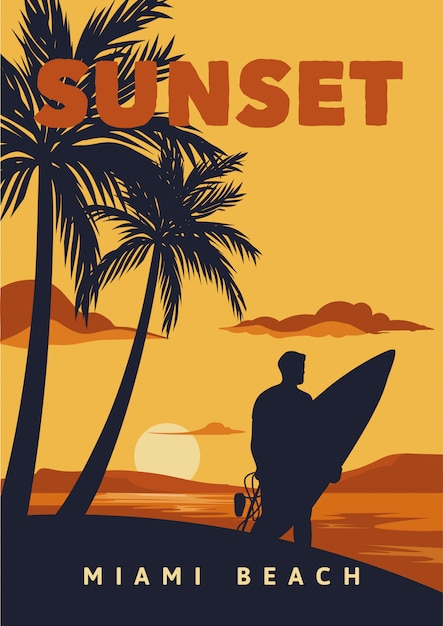 Pôr do sol em miami beach surf poster vintage Vetor Premium