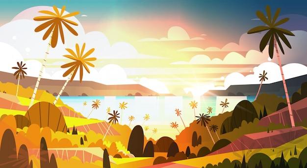 Pôr do sol na praia tropical bela paisagem pôr do sol na praia com palmeiras Vetor Premium