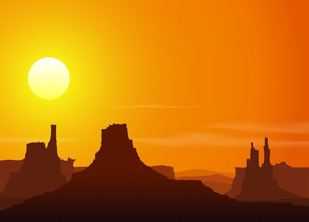 Pôr do sol nas montanhas rochosas Vetor Premium