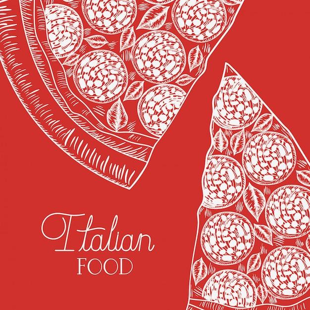 Porção de pizza italiana mão desenhada comida italiana Vetor Premium
