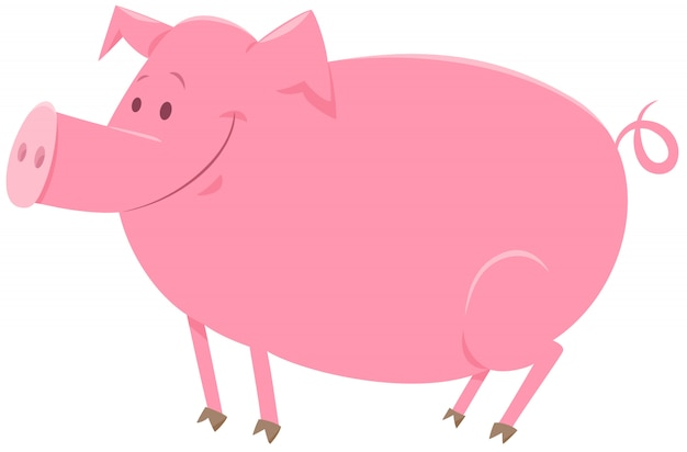 Porco animal personagem cartoon ilustração Vetor Premium