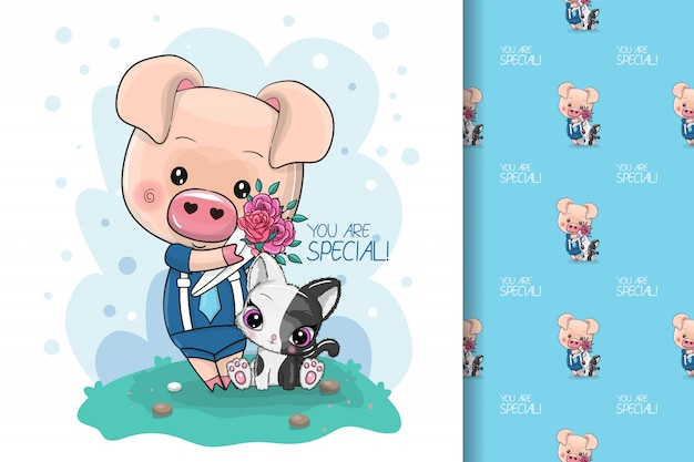 Porco bonito dos desenhos animados legal com flores para crianças e padrão sem emenda Vetor Premium