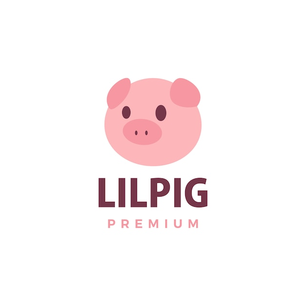Porco bonito logotipo icon ilustração Vetor Premium