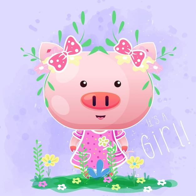 Porco bonito menina bebê com flores no fundo roxo Vetor Premium