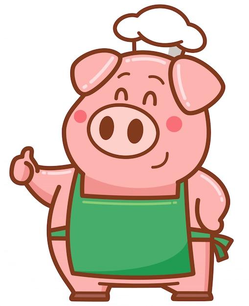 Porco chef dos desenhos animados Vetor Premium