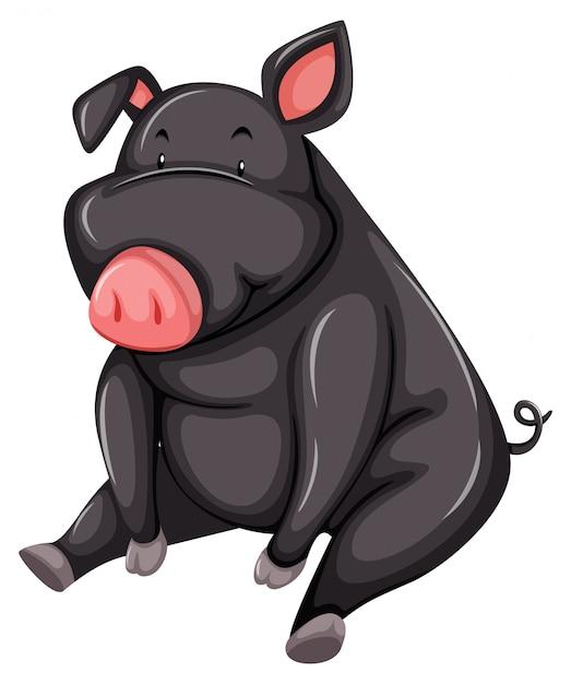 Porco cinzento e gordo Vetor grátis