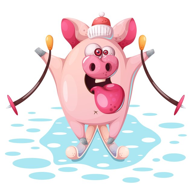 Porco-de-rosa bonito com ski Vetor Premium