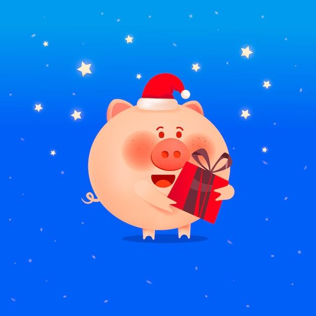 Porco de santa com um presente. o ano do porco. cartão de férias Vetor Premium