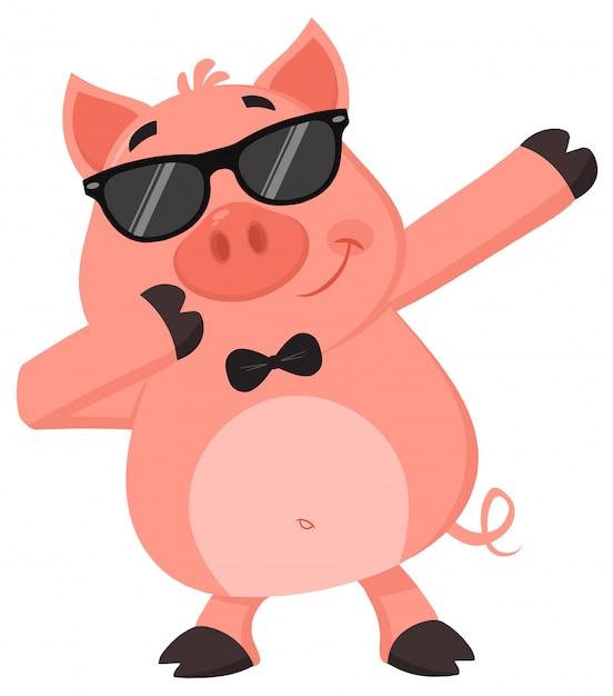 Porco engraçado dab dabbing Vetor Premium