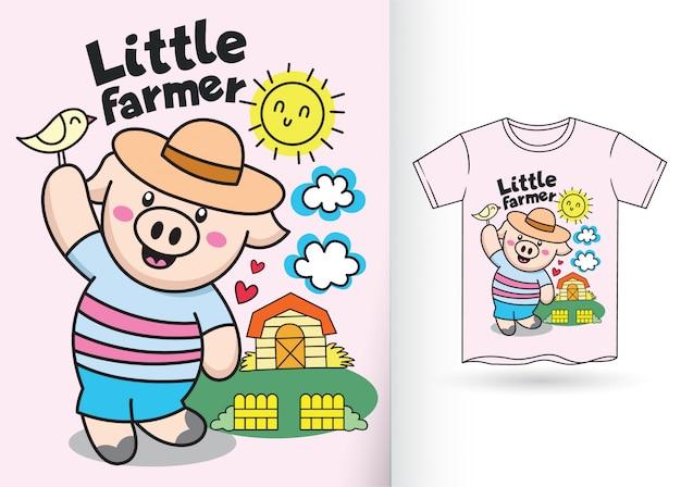 Porco pequeno dos desenhos animados para a camisa de t Vetor Premium
