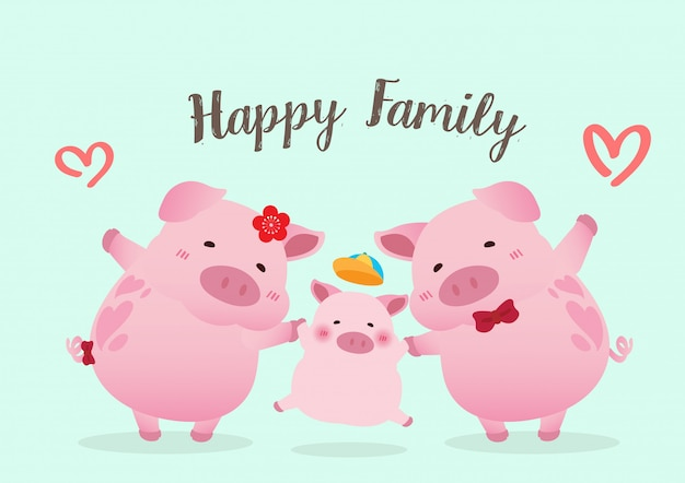Porcos felizes família design de vetor de caráter Vetor Premium
