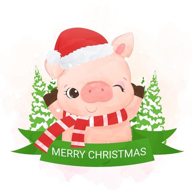 Porquinho fofo desejando a você um feliz natal Vetor Premium