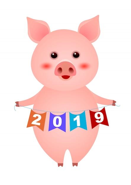 Porquinho fofo segurando ilustração de guirlanda de ano novo Vetor grátis