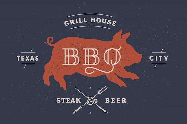 Porquinho, porco, porco. rótulo vintage, logotipo, adesivo, pôster para restaurante de carne Vetor Premium