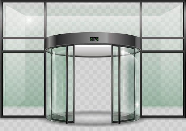 Porta automática de vidro redondo Vetor Premium