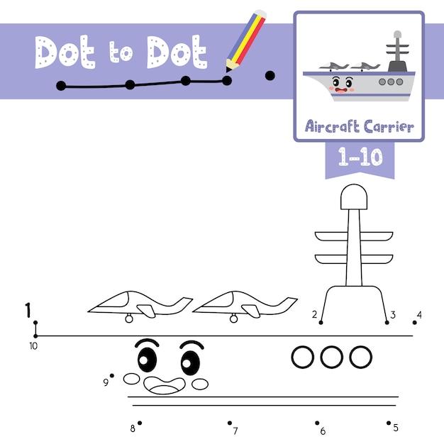 Porta-aviões dot to dot game e livro para colorir Vetor Premium