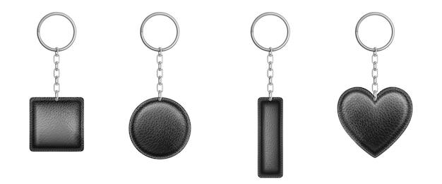 Porta-chaves de couro preto de diferentes formas com corrente de metal e anel. Vetor grátis