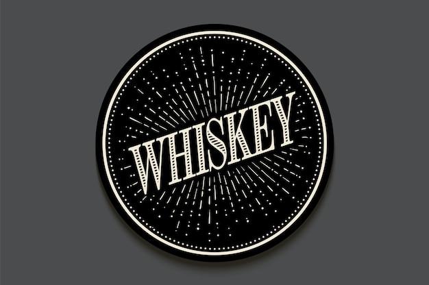 Porta-copos para bebidas com inscrição whisky, raios de luz e sunburst. Vetor Premium