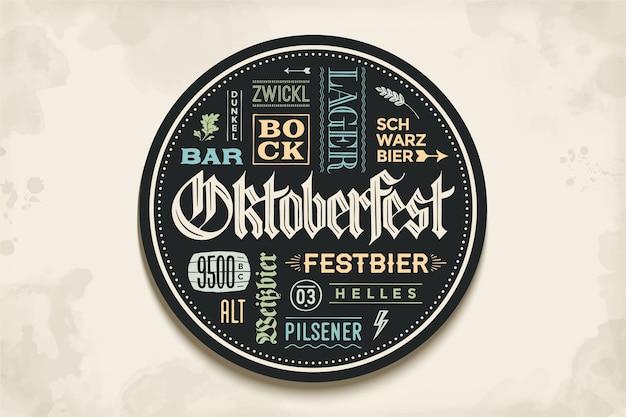Porta-copos para cerveja com letras desenhadas à mão para o festival de cerveja oktoberfest. desenho vintage para temas de bar, pub, cerveja. círculo para colocar uma caneca de cerveja ou uma garrafa de cerveja. ilustração Vetor Premium
