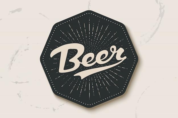 Porta-copos para cerveja com mão desenhada letras cerveja Vetor Premium
