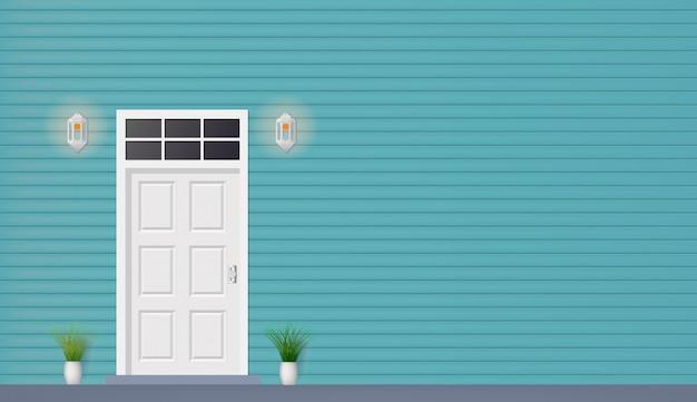 Porta de madeira da vista frontal da casa com lâmpadas Vetor Premium