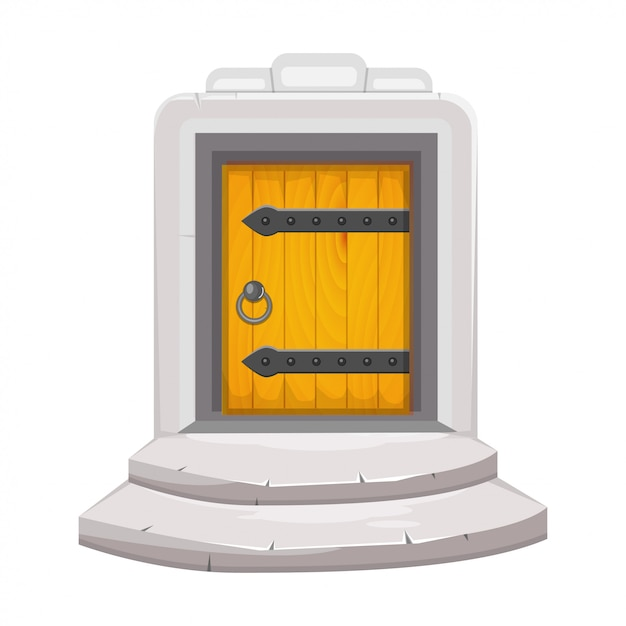 Porta de madeira medieval Vetor Premium
