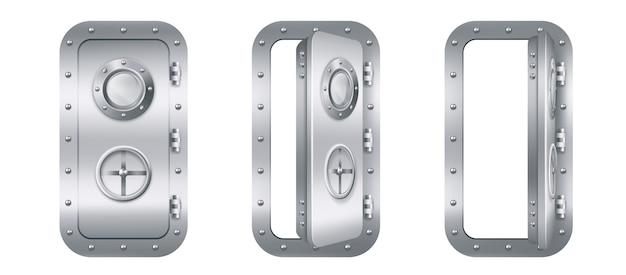Porta de metal com vigia em submarino Vetor grátis