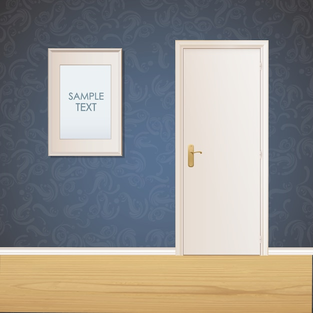 Porta e quadro na parede de fundo Vetor grátis