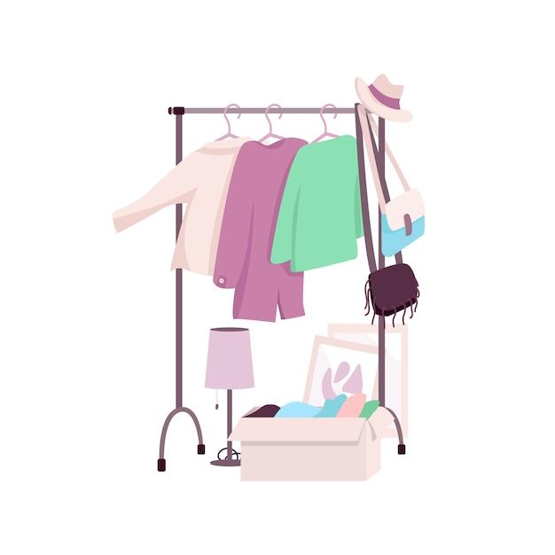 Porta-roupas objeto de cor lisa. guarda-roupa feminino. revenda. usado. desperdício zero. ilustração de desenhos animados isolados de roupas usadas e recicladas para design gráfico e animação da web Vetor Premium