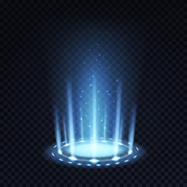Portal mágico. efeito de luz realista com feixe azul e partículas brilhantes Vetor Premium