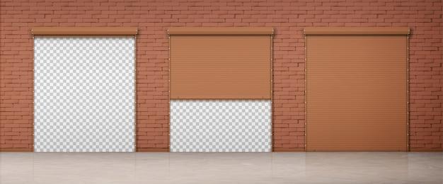 Portão com persiana marrom na parede de tijolo Vetor grátis