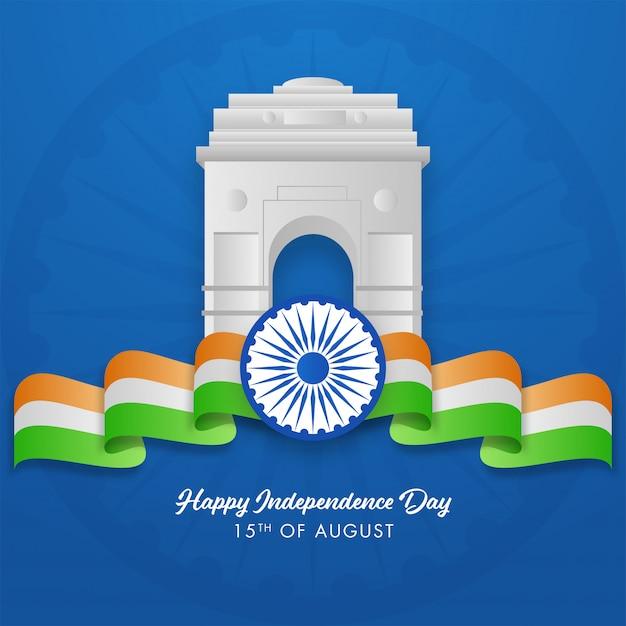 Portão da índia brilhante com roda de ashoka e fita ondulada tricolor sobre fundo azul, feliz dia da independência. Vetor Premium
