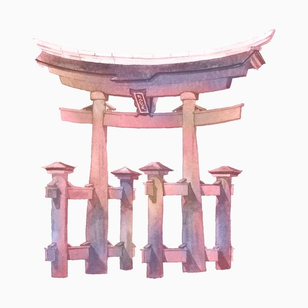 Portão torii japonês pintado por aquarela Vetor grátis
