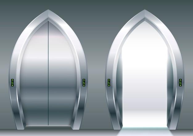 Portas arqueadas do elevador Vetor Premium