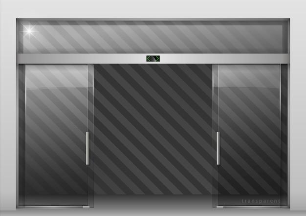 Portas automáticas de vidro Vetor Premium