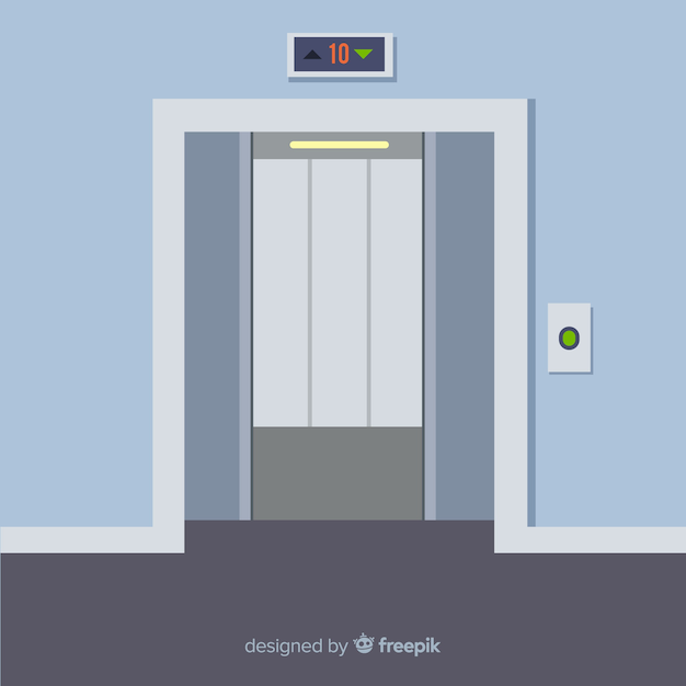 Portas de elevador abertas planas Vetor grátis