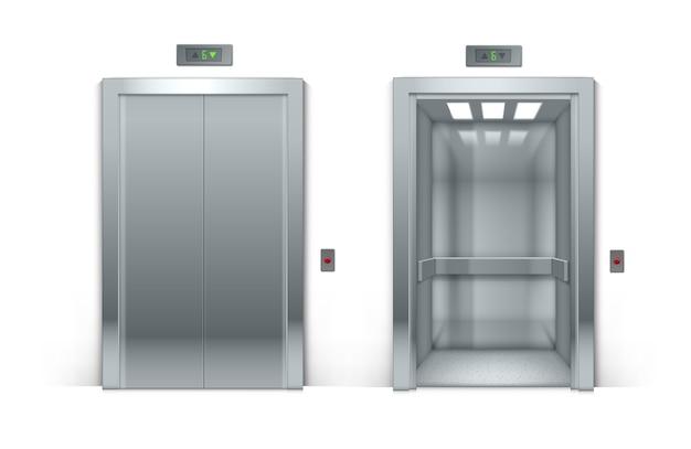 Portas de elevador de edifício de escritórios de metal cromado abertas e fechadas realistas isoladas no fundo Vetor Premium