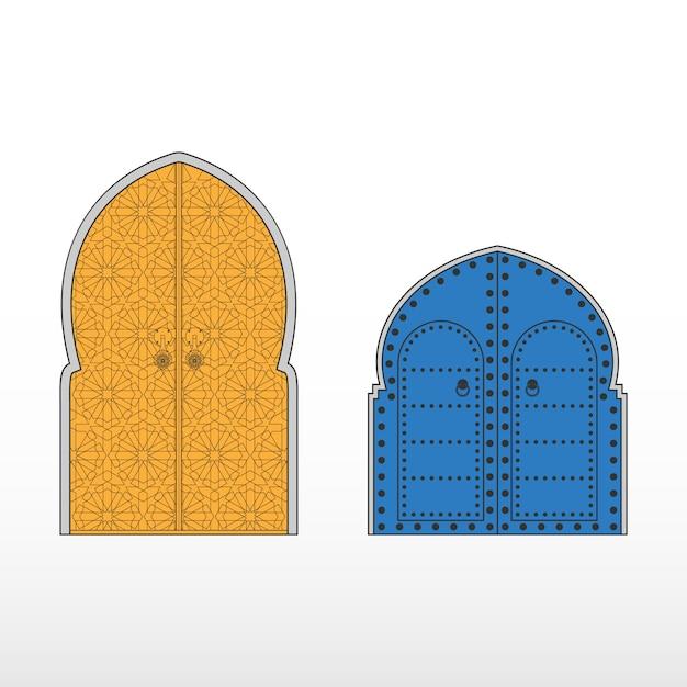 Portas de entrada tradicionais marroquinas Vetor Premium
