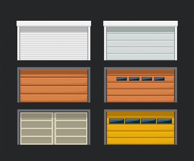 Portas de garagem definidas no escuro Vetor Premium