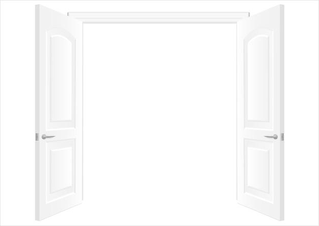 Portas duplas brancas abertas Vetor Premium
