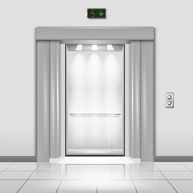 Portas fechadas do elevador do prédio de escritórios do metal do cromo com raios de luz na cabine Vetor Premium