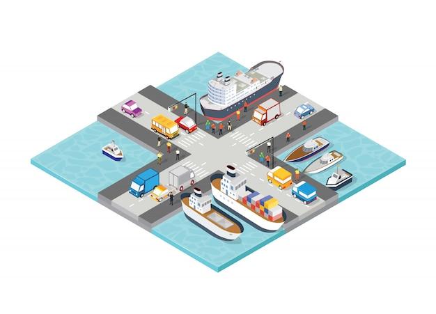 Porto de turismo isométrico navio navio com pessoas Vetor Premium