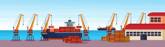 Porto marítimo industrial frete navio guindaste de carga contêiner logística carregamento armazém água Vetor Premium