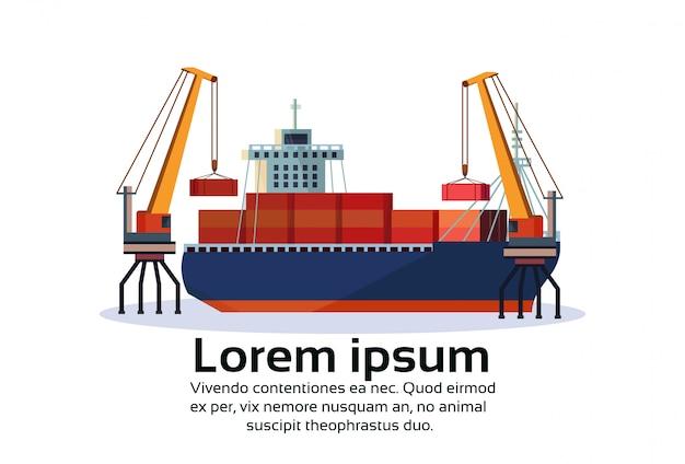 Porto marítimo industrial frete navio guindaste de carga logística recipiente água de carregamento Vetor Premium
